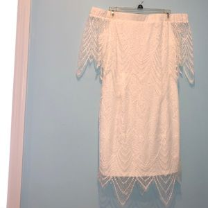 white, lace, bodycon, off the shoulder dress.